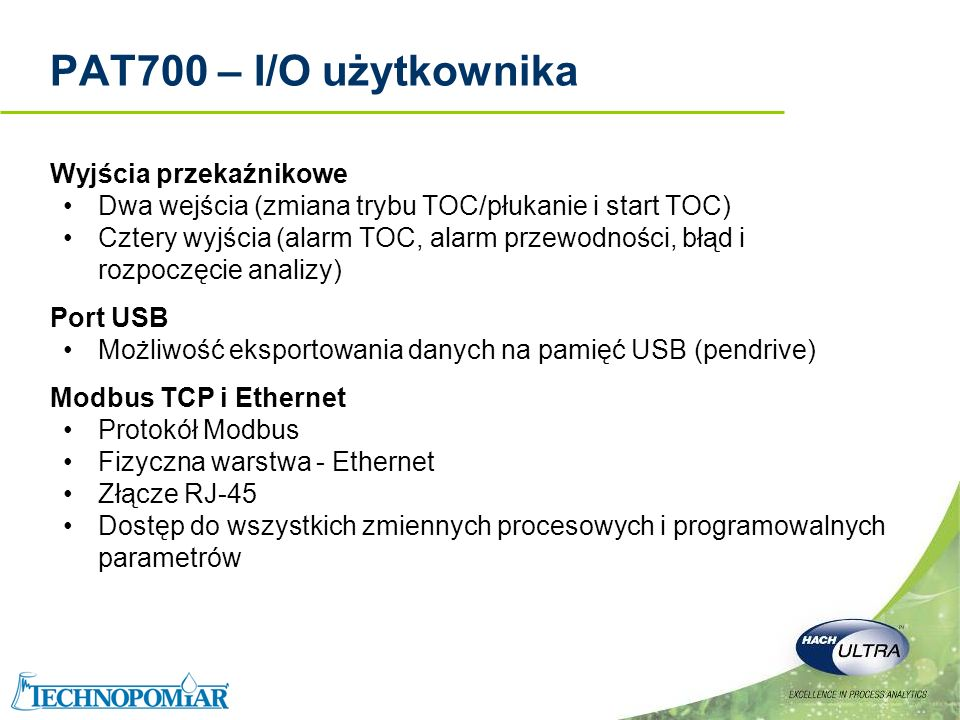 PAT700 – I/O użytkownika Wyjścia przekaźnikowe