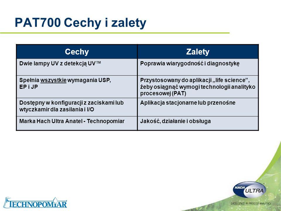 PAT700 Cechy i zalety Cechy Zalety Dwie lampy UV z detekcją UV™