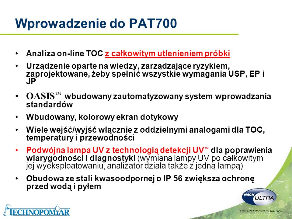Wprowadzenie do PAT700Analiza on-line TOC z całkowitym utlenieniem próbki.