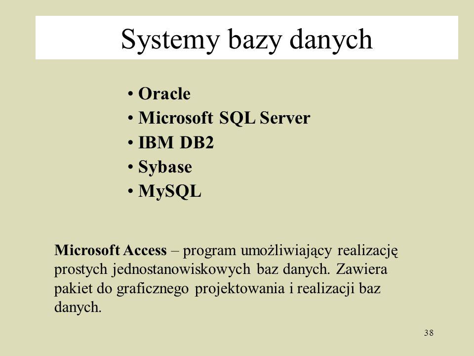Systemy bazy danych Oracle Microsoft SQL Server IBM DB2 Sybase MySQL