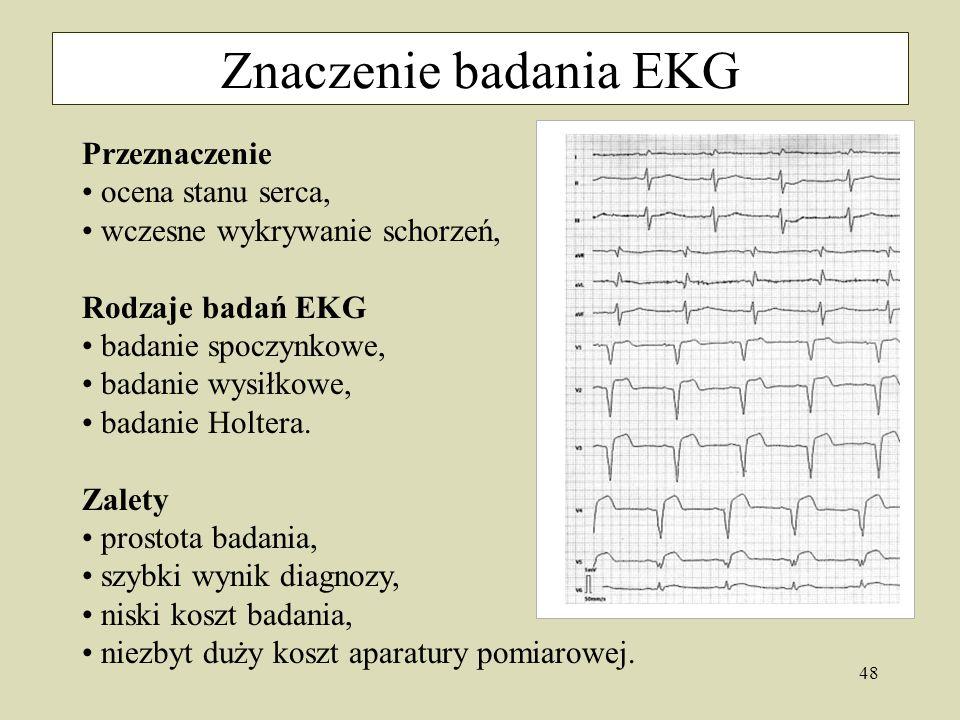 Znaczenie badania EKG Przeznaczenie ocena stanu serca,