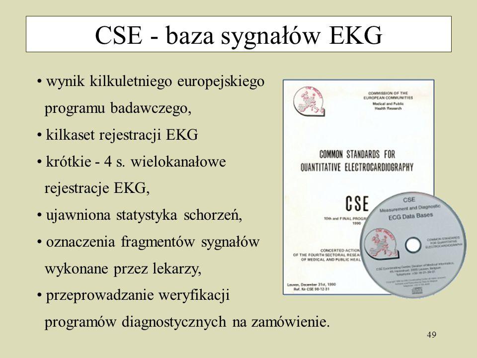 CSE - baza sygnałów EKG wynik kilkuletniego europejskiego programu badawczego, kilkaset rejestracji EKG.