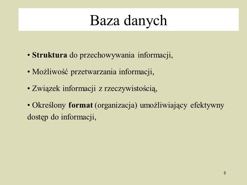 Baza danych Struktura do przechowywania informacji,