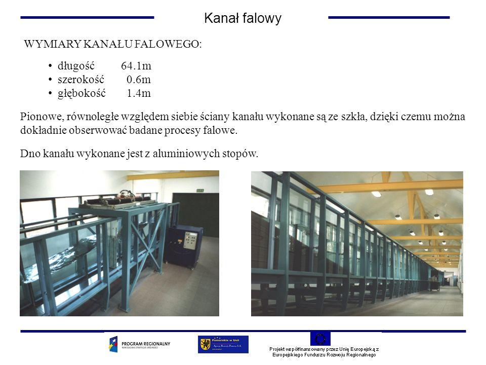 Kanał falowy WYMIARY KANAŁU FALOWEGO: długość 64.1m szerokość 0.6m