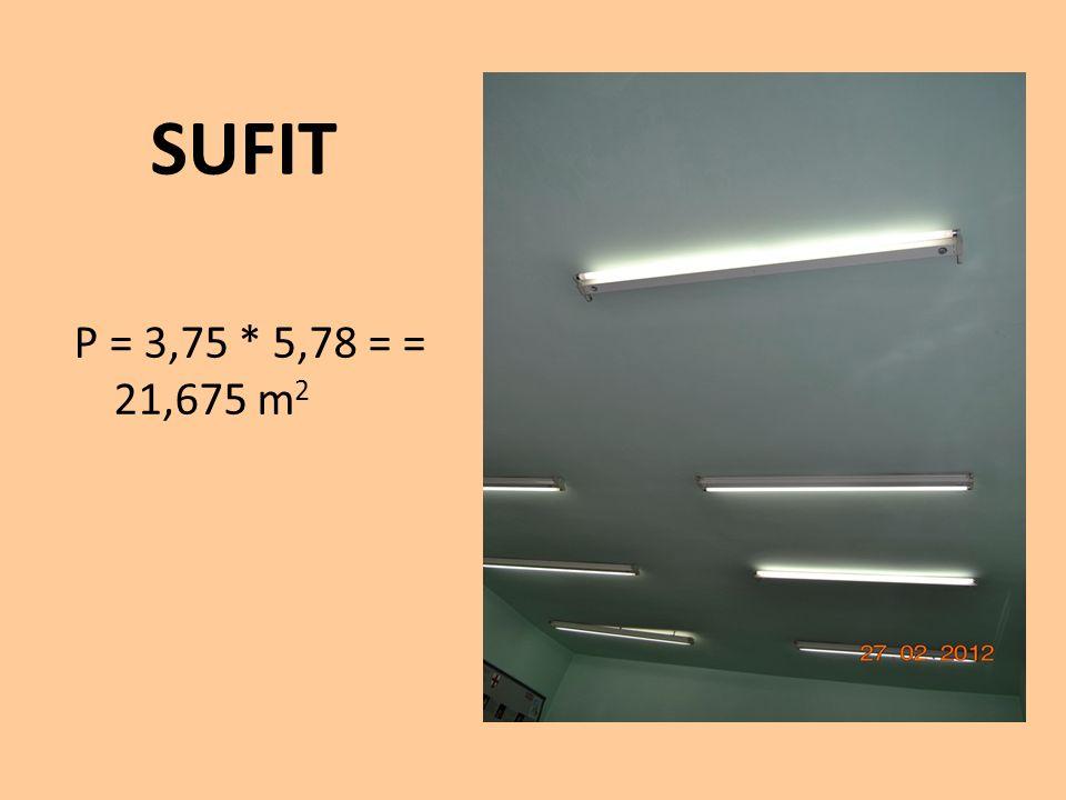 SUFIT P = 3,75 * 5,78 = = 21,675 m2
