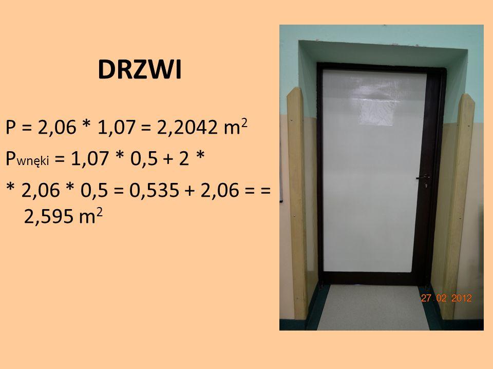DRZWI P = 2,06 * 1,07 = 2,2042 m2 Pwnęki = 1,07 * 0,5 + 2 * * 2,06 * 0,5 = 0,535 + 2,06 = = 2,595 m2