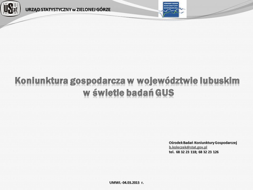 Koniunktura gospodarcza w województwie lubuskim w świetle badań GUS