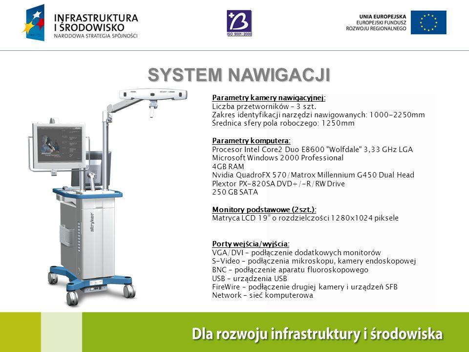 SYSTEM NAWIGACJI Parametry kamery nawigacyjnej: