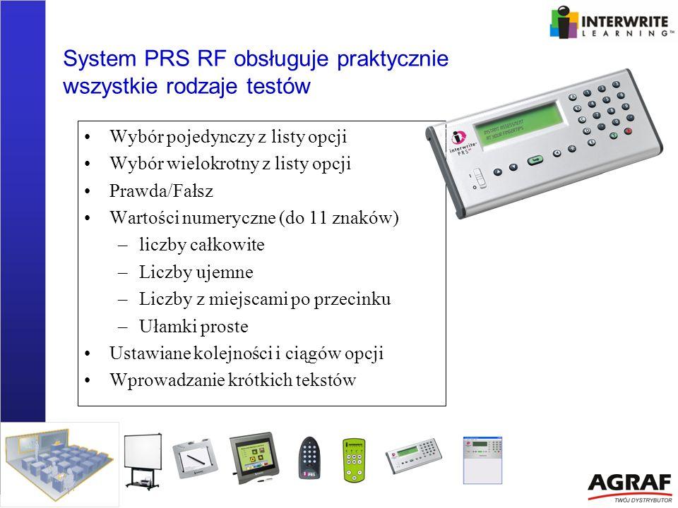 System PRS RF obsługuje praktycznie wszystkie rodzaje testów