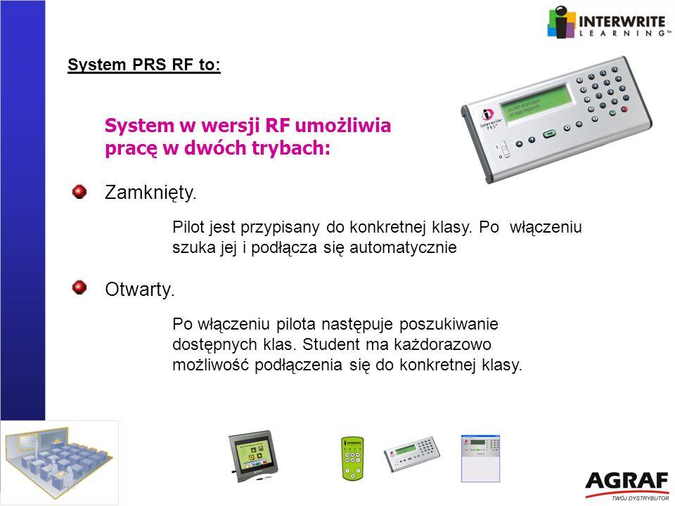System w wersji RF umożliwia pracę w dwóch trybach: Zamknięty.