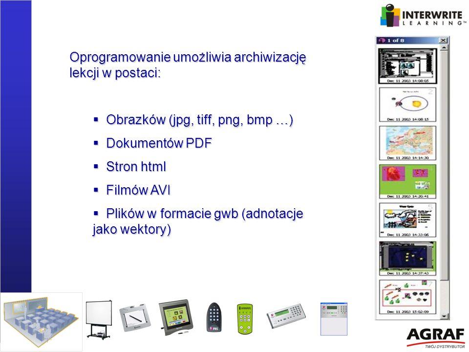 Oprogramowanie umożliwia archiwizację lekcji w postaci: