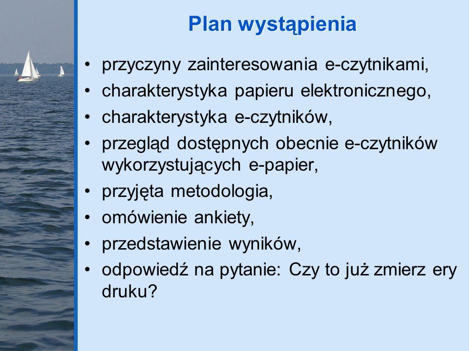Plan wystąpienia przyczyny zainteresowania e-czytnikami,