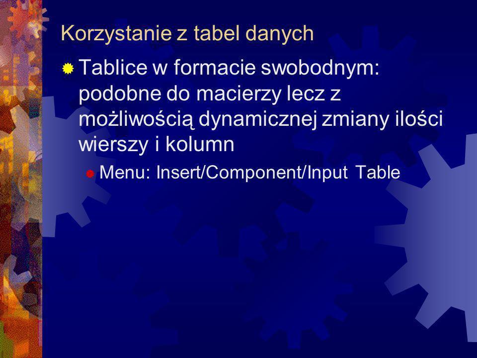 Korzystanie z tabel danych