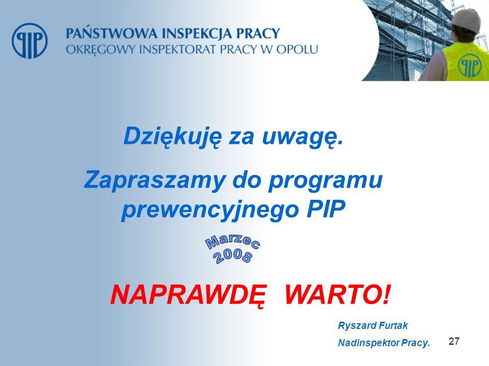 Zapraszamy do programu prewencyjnego PIP