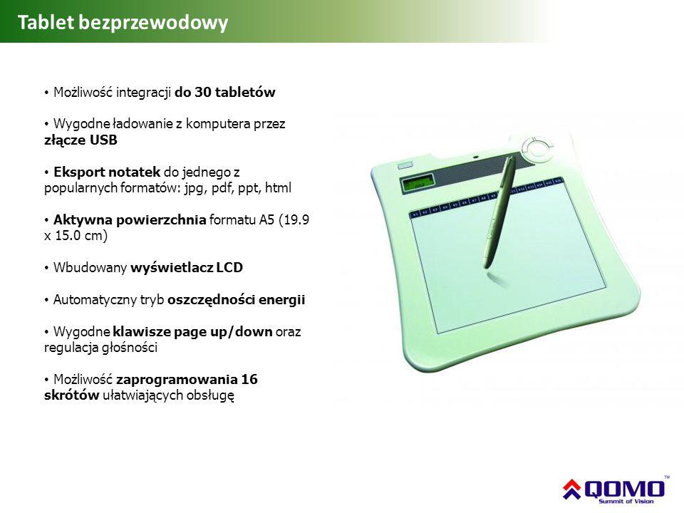 Tablet bezprzewodowy Możliwość integracji do 30 tabletów