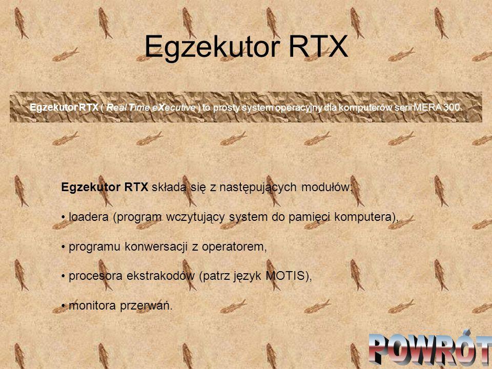 Egzekutor RTX POWRÓT Egzekutor RTX składa się z następujących modułów: