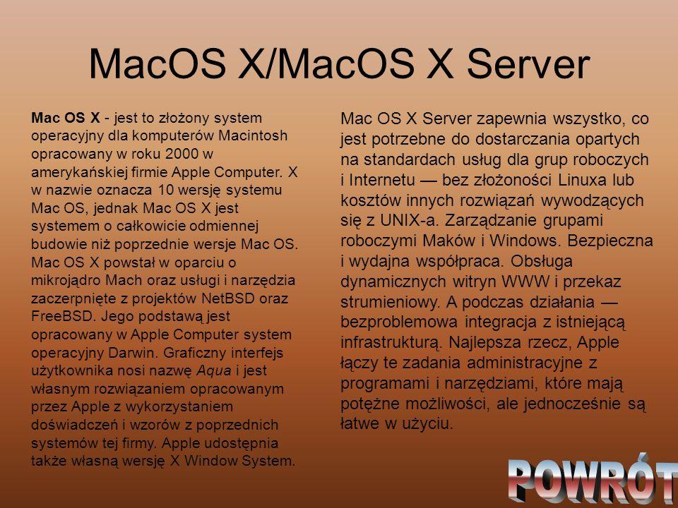 MacOS X/MacOS X Server POWRÓT