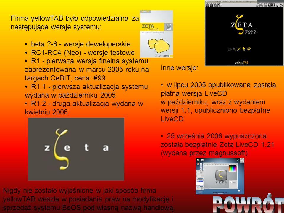 Firma yellowTAB była odpowiedzialna za następujące wersje systemu: