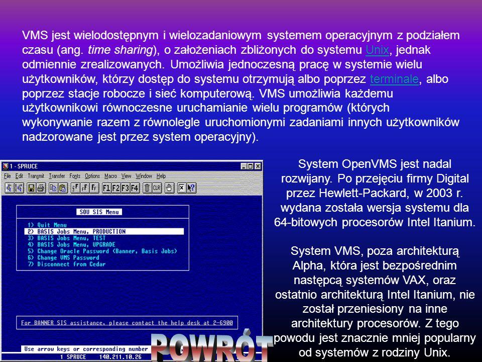 VMS jest wielodostępnym i wielozadaniowym systemem operacyjnym z podziałem czasu (ang. time sharing), o założeniach zbliżonych do systemu Unix, jednak odmiennie zrealizowanych. Umożliwia jednoczesną pracę w systemie wielu użytkowników, którzy dostęp do systemu otrzymują albo poprzez terminale, albo poprzez stacje robocze i sieć komputerową. VMS umożliwia każdemu użytkownikowi równoczesne uruchamianie wielu programów (których wykonywanie razem z równolegle uruchomionymi zadaniami innych użytkowników nadzorowane jest przez system operacyjny).
