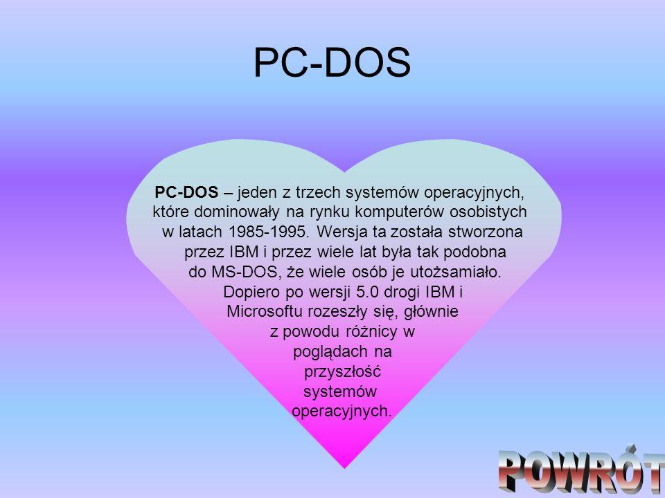 PC-DOS POWRÓT PC-DOS – jeden z trzech systemów operacyjnych,