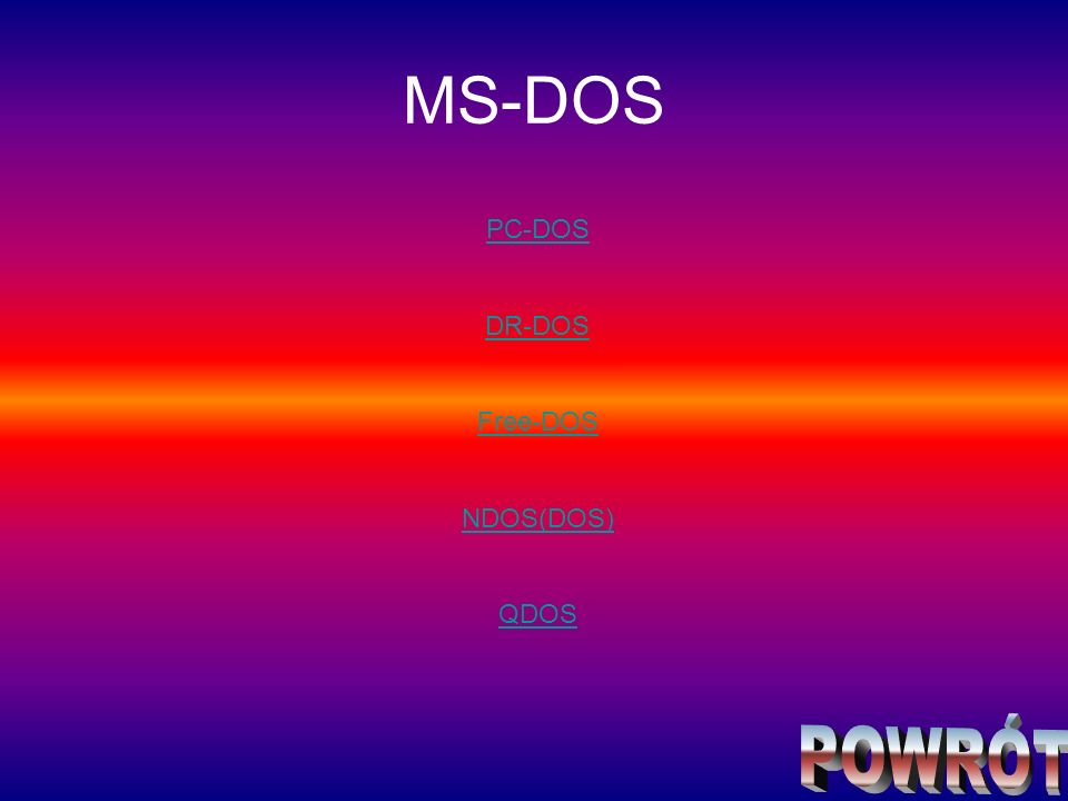 MS-DOS PC-DOS DR-DOS Free-DOS NDOS(DOS) QDOS POWRÓT