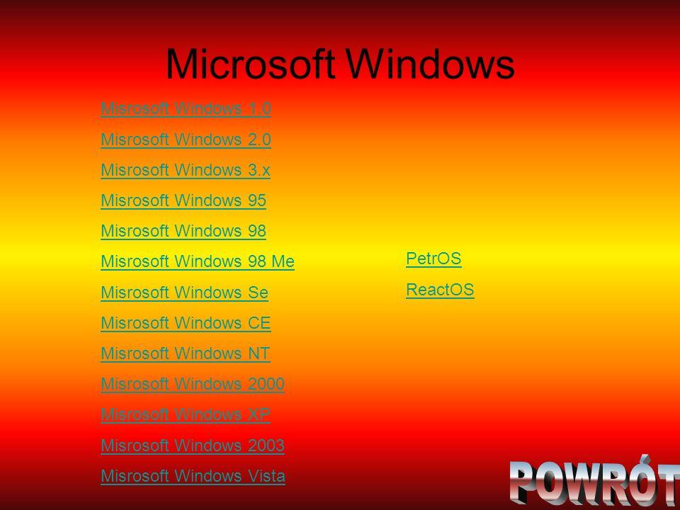 Microsoft Windows POWRÓT Misrosoft Windows 1.0 Misrosoft Windows 2.0