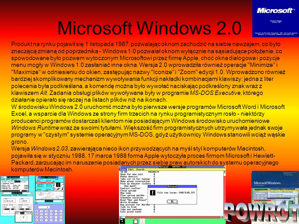 Microsoft Windows 2.0 POWRÓT