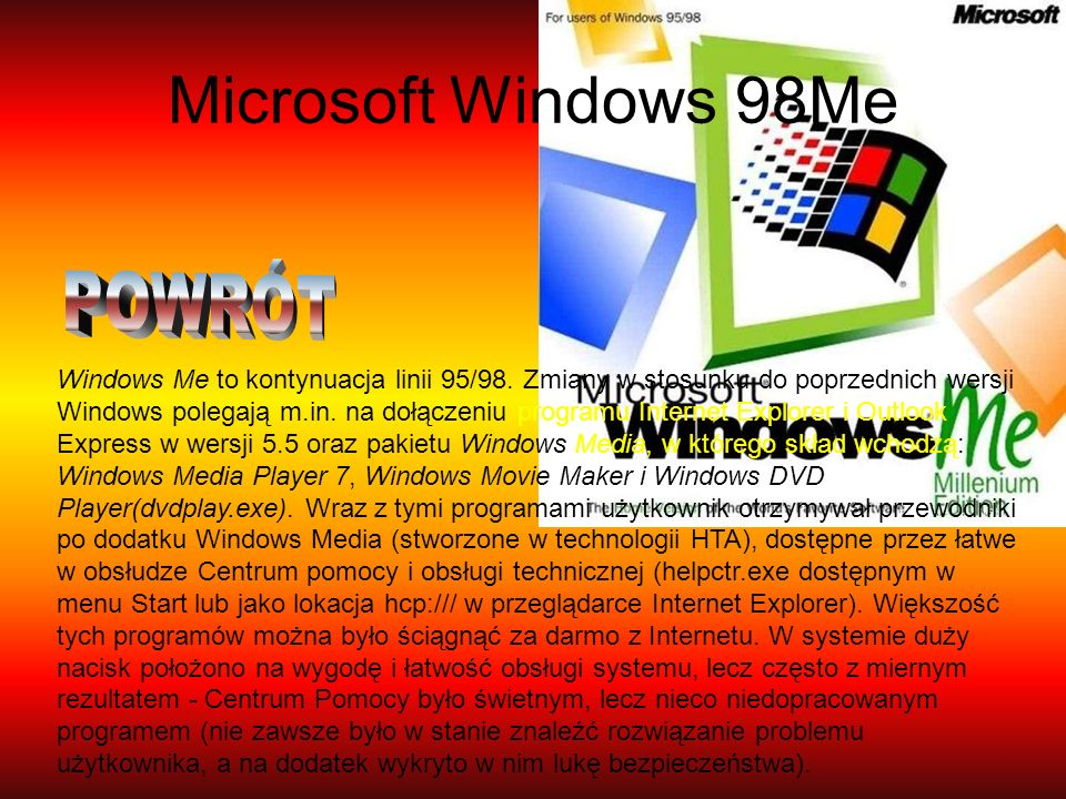 Microsoft Windows 98Me POWRÓT