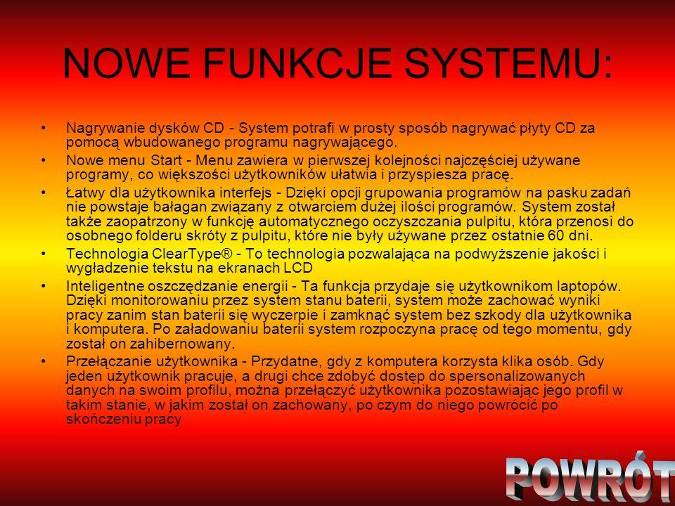 NOWE FUNKCJE SYSTEMU: POWRÓT
