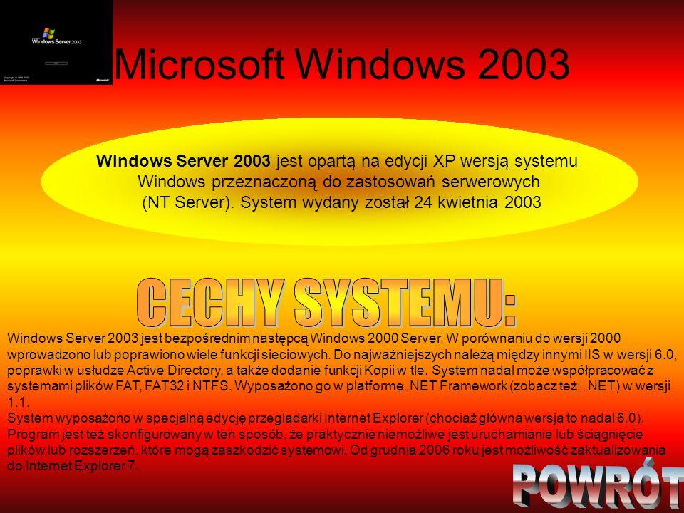 Microsoft Windows 2003 CECHY SYSTEMU: POWRÓT