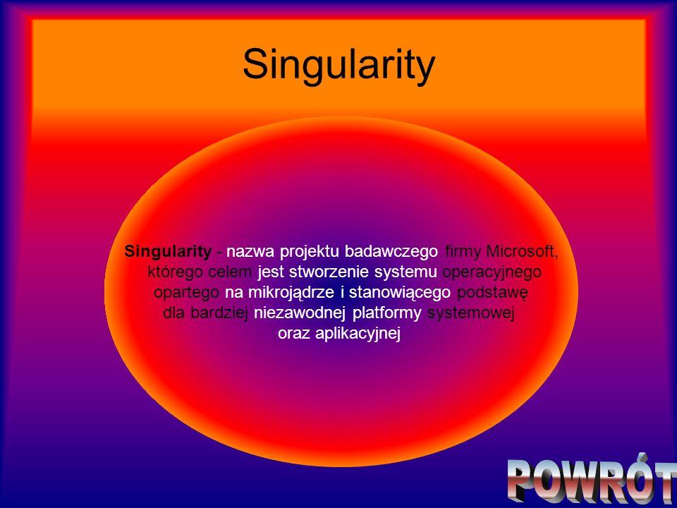 Singularity Singularity - nazwa projektu badawczego firmy Microsoft, którego celem jest stworzenie systemu operacyjnego.