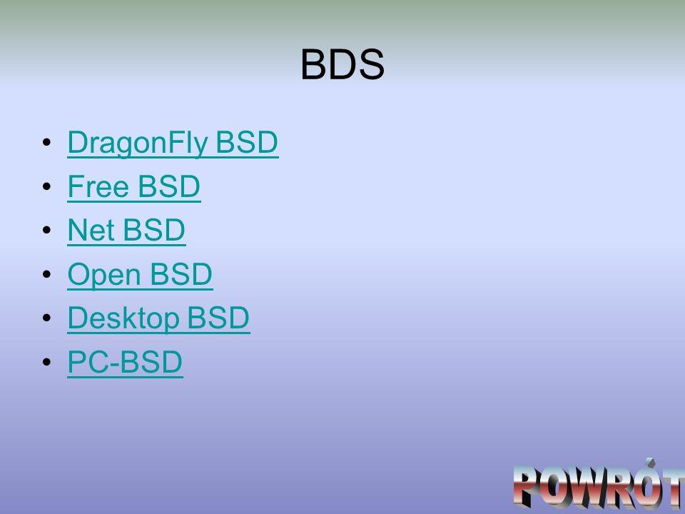 BDS DragonFly BSD Free BSD Net BSD Open BSD Desktop BSD PC-BSD POWRÓT