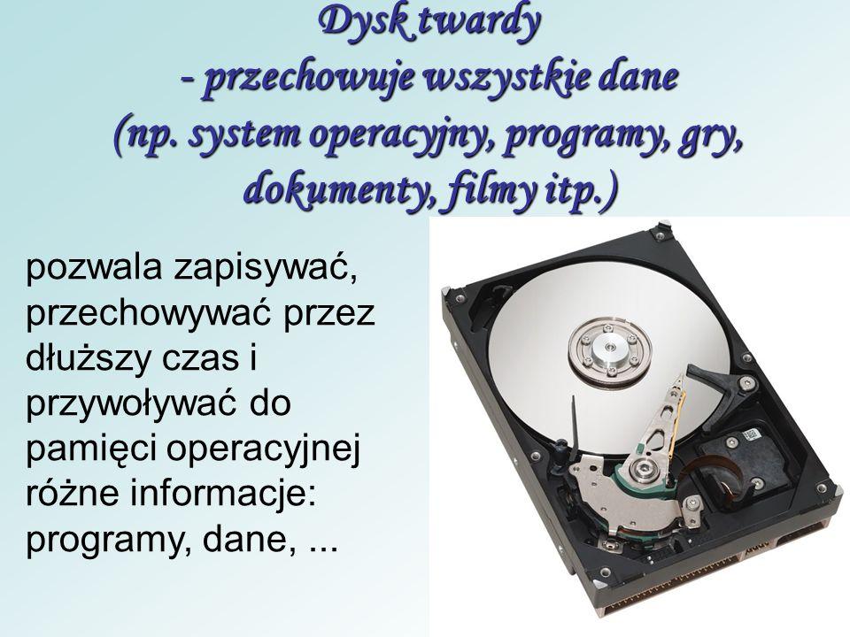 Dysk twardy - przechowuje wszystkie dane (np