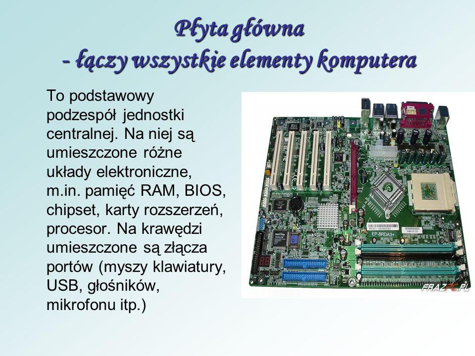 Płyta główna - łączy wszystkie elementy komputera
