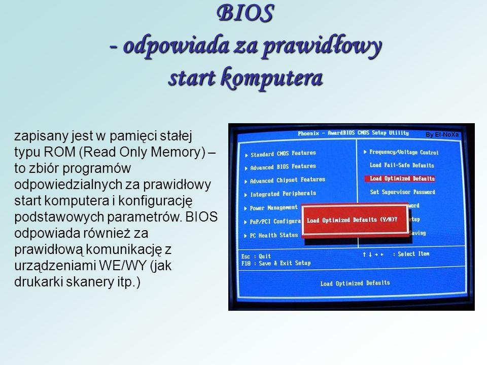 BIOS - odpowiada za prawidłowy start komputera