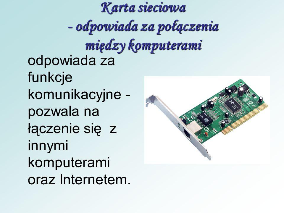 Karta sieciowa - odpowiada za połączenia między komputerami