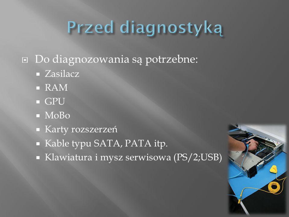 Przed diagnostyką Do diagnozowania są potrzebne: Zasilacz RAM GPU MoBo