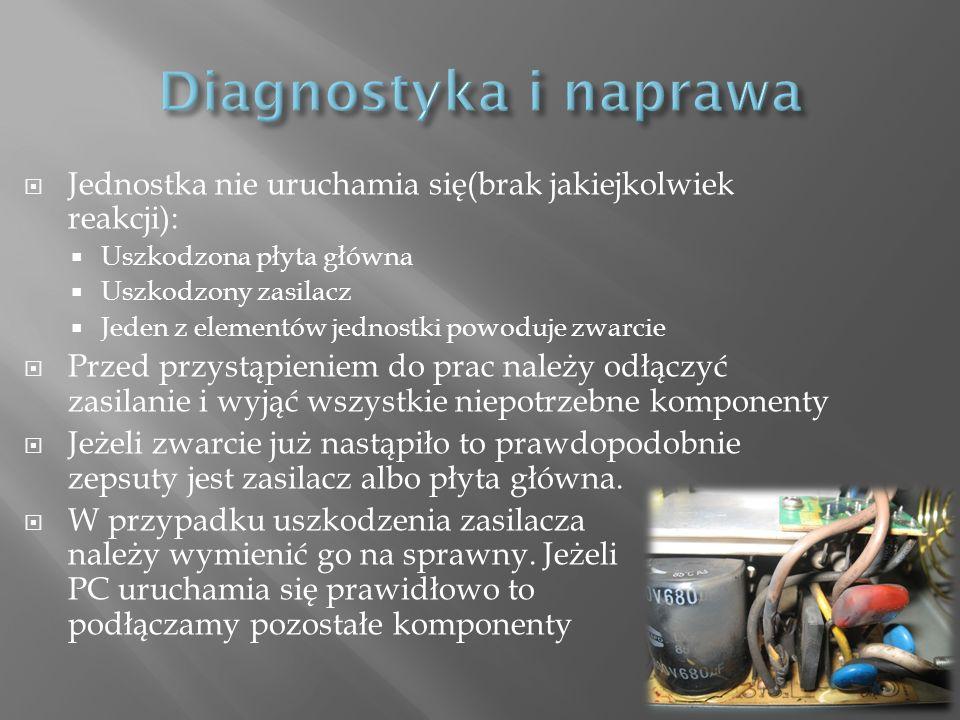 Diagnostyka i naprawa Jednostka nie uruchamia się(brak jakiejkolwiek reakcji): Uszkodzona płyta główna.