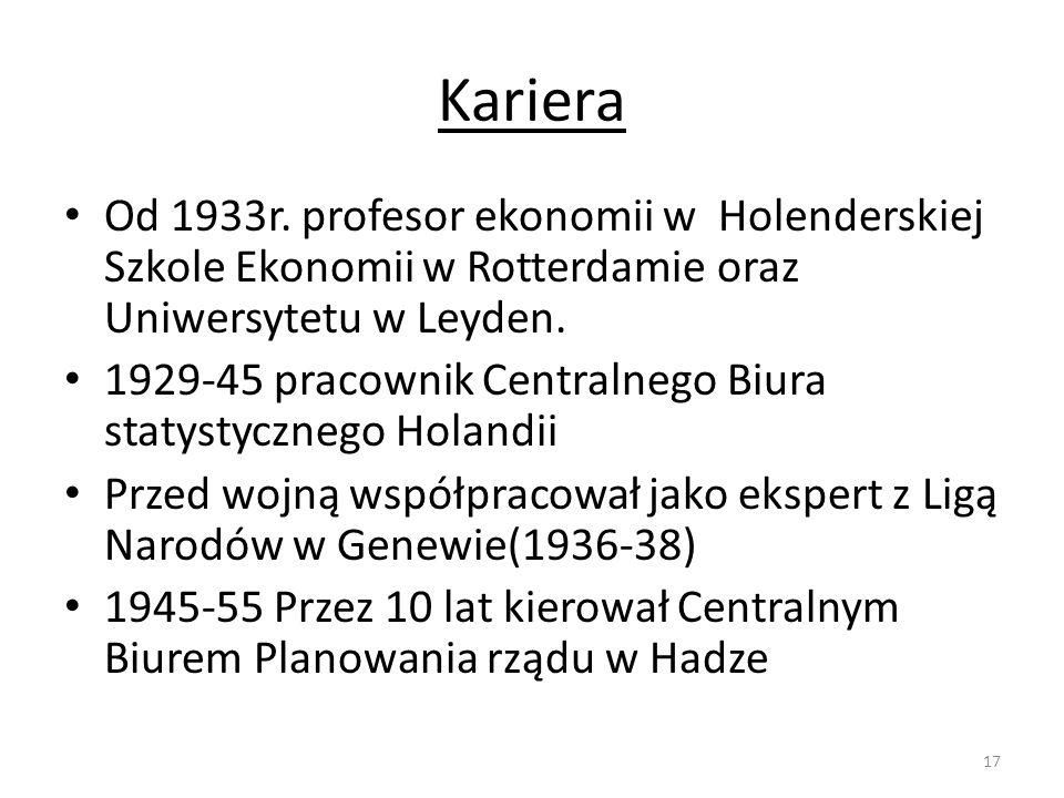 Kariera Od 1933r. profesor ekonomii w Holenderskiej Szkole Ekonomii w Rotterdamie oraz Uniwersytetu w Leyden.