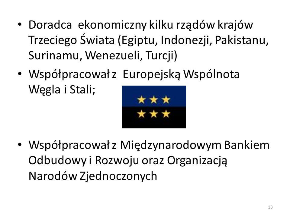 Doradca ekonomiczny kilku rządów krajów Trzeciego Świata (Egiptu, Indonezji, Pakistanu, Surinamu, Wenezueli, Turcji)
