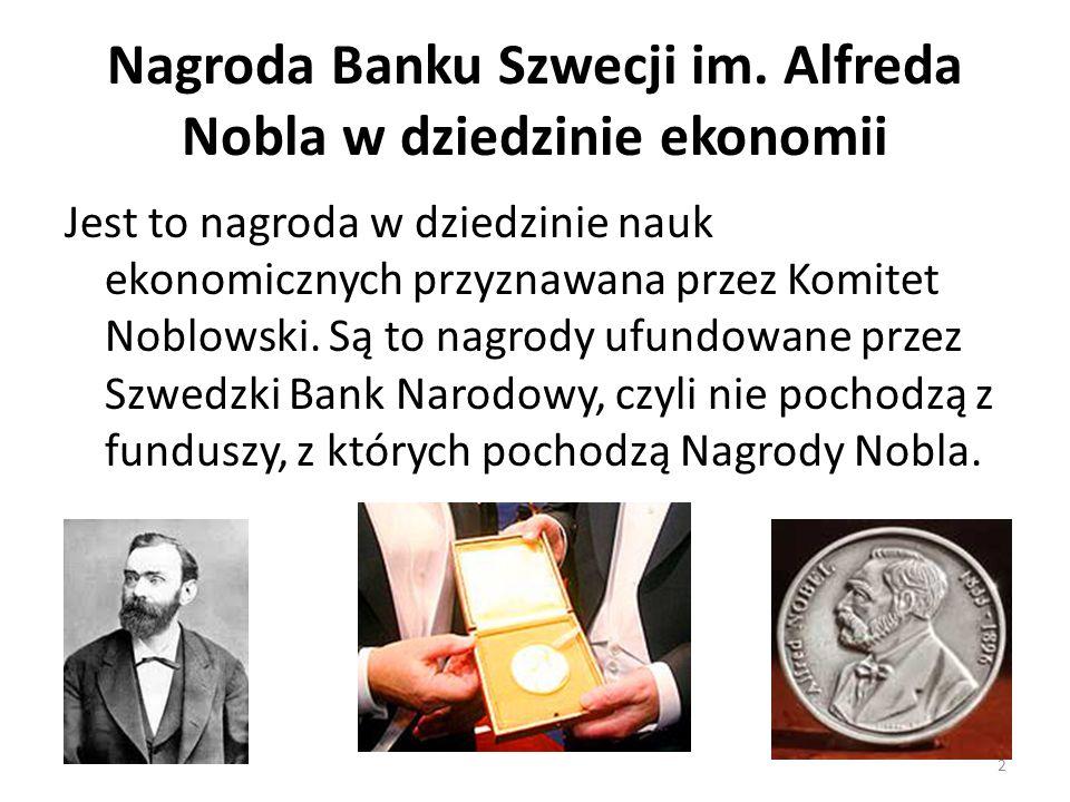 Nagroda Banku Szwecji im. Alfreda Nobla w dziedzinie ekonomii