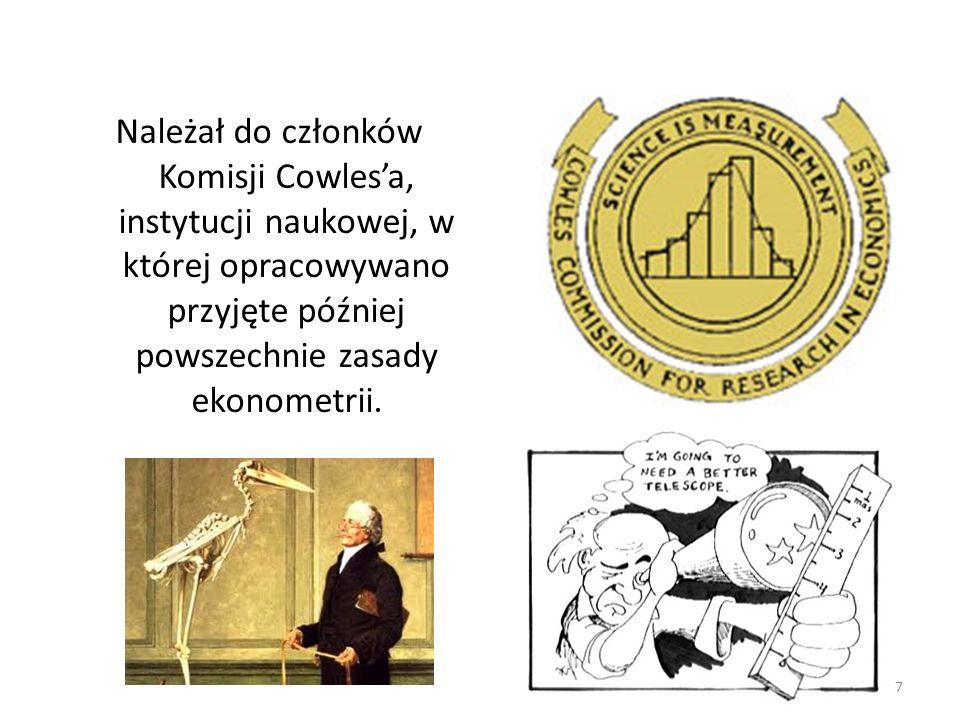 Należał do członków Komisji Cowles'a, instytucji naukowej, w której opracowywano przyjęte później powszechnie zasady ekonometrii.