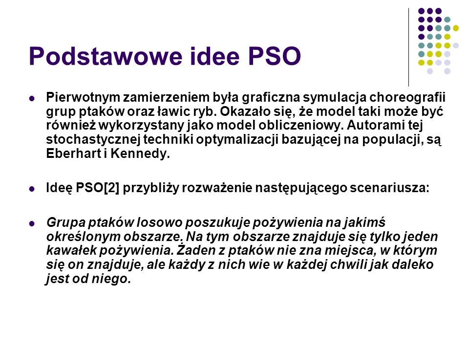 Podstawowe idee PSO
