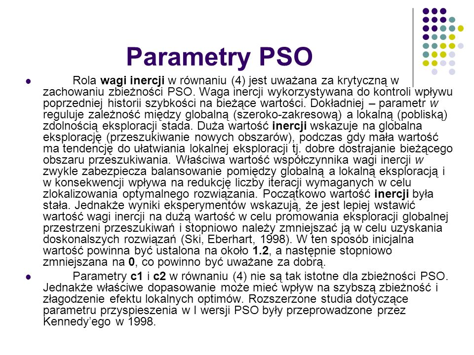 Parametry PSO