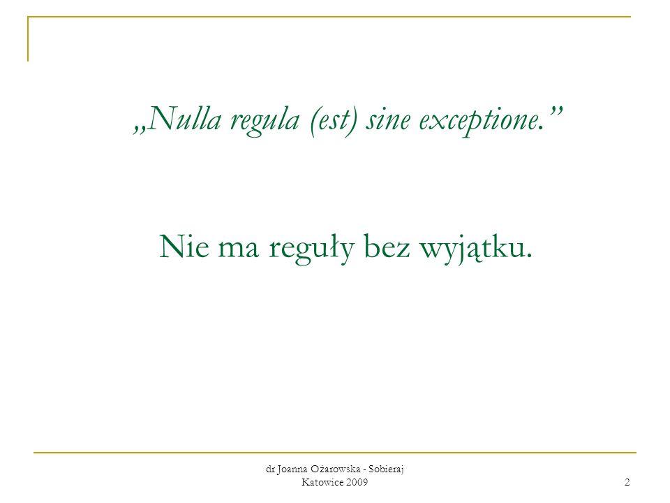 """""""Nulla regula (est) sine exceptione. Nie ma reguły bez wyjątku."""