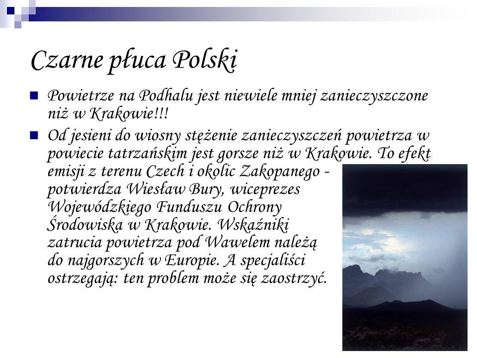 Czarne płuca Polski Powietrze na Podhalu jest niewiele mniej zanieczyszczone niż w Krakowie!!!