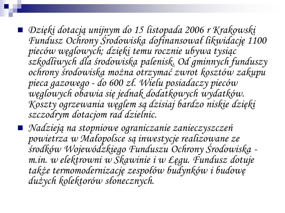 Dzięki dotacją unijnym do 15 listopada 2006 r Krakowski Fundusz Ochrony Środowiska dofinansował likwidację 1100 pieców węglowych; dzięki temu rocznie ubywa tysiąc szkodliwych dla środowiska palenisk. Od gminnych funduszy ochrony środowiska można otrzymać zwrot kosztów zakupu pieca gazowego - do 600 zł. Wielu posiadaczy pieców węglowych obawia się jednak dodatkowych wydatków. Koszty ogrzewania węglem są dzisiaj bardzo niskie dzięki szczodrym dotacjom rad dzielnic.