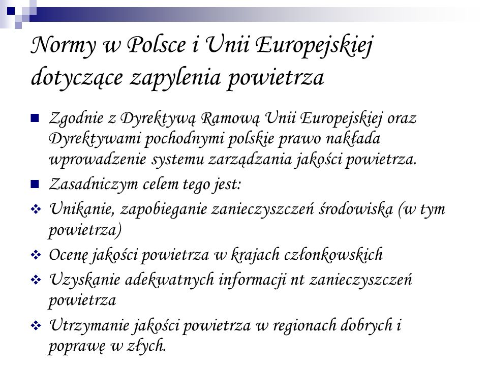 Normy w Polsce i Unii Europejskiej dotyczące zapylenia powietrza
