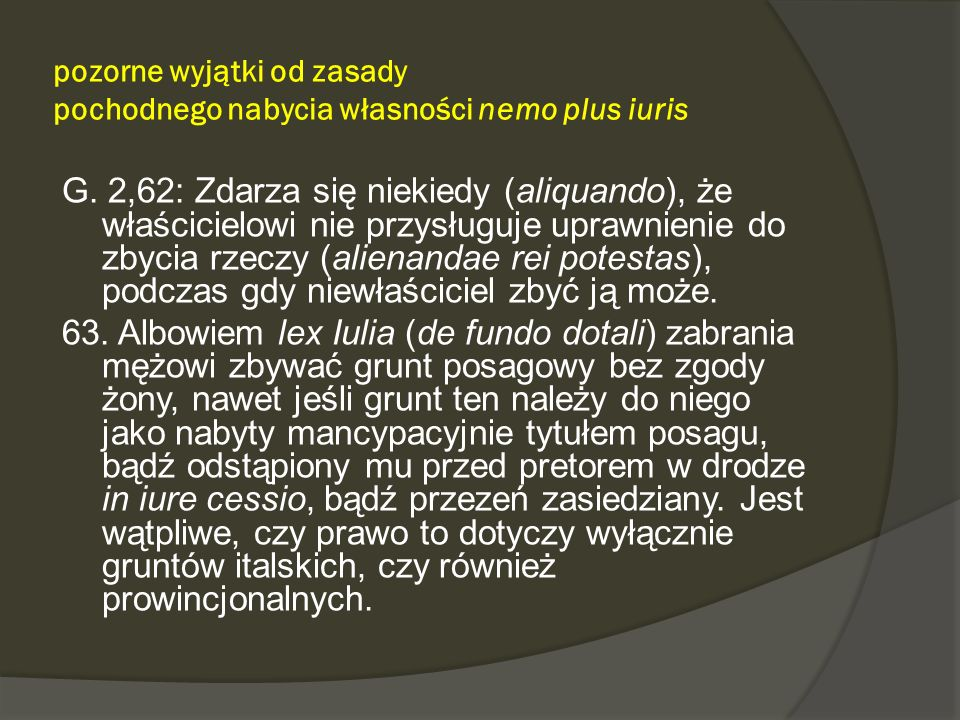 pozorne wyjątki od zasady pochodnego nabycia własności nemo plus iuris