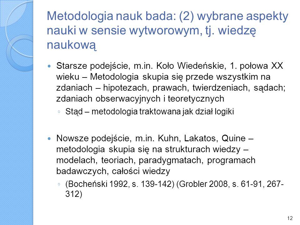 Metodologia nauk bada: (2) wybrane aspekty nauki w sensie wytworowym, tj. wiedzę naukową
